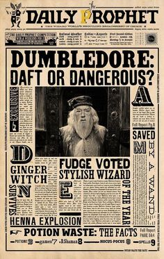 Image shared by Gwenou Potter . Find images and videos about harry potter, dumbledore and daily prophet on We Heart It - the app to get lost in what you love. Harry Potter World, Harry Potter Poster, Harry Potter Plakat, Natal Do Harry Potter, Magie Harry Potter, Harry Potter Thema, Classe Harry Potter, Cumpleaños Harry Potter, Harry Potter Bedroom