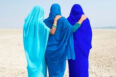 Women in shades of blue...