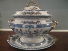 Large Antique Copeland Spode Indian Tree Flow Blue Soup Tureen Mint