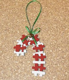 Easy Christmas Crafts | These Puzzle Pieces Candy Canes are an easy Christmas Art Craft for ...
