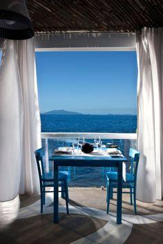 Coastal Living for two. coast of Greece? Home Living, Coastal Living, Coastal Decor, Waterfront Restaurant, Window View, Through The Window, Interior Exterior, Interior Design, Architecture