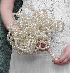 www.weddbook.com everything about wedding ♥ Pearl Wedding Bouquet & Flowers #wedding #pearl #bouquet #diy #craft