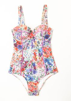 Fresh From the Garden One-Piece Swimsuit. Frolicking through the sprinkler feels even more refreshing in this floral swimsuit from Mink Pink! #purple #modcloth