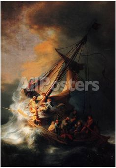 Rembrandt Christ in the Storm on the Lake Genezareth Art Print Poster Transportation Poster - 33 x 48 cm