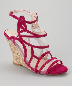 Take a look at this Fuchsia Tier-20x Wedge Sandal by Wild Rose on #zulily today!