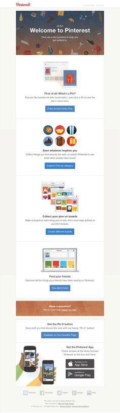 Pinterest Welcome Email Design.