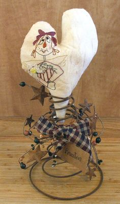Primitive Embroidered OOAK Raggedy Annie Heart by Skunkhollow, $20.00