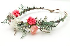 Flower Crown, Woodland Wedding, Boho Bridal, Rustic Wedding, Pink and White Flower Headpiece via Etsy