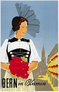 1937 poster promoting travel to Bern, Switzerland, in Spring (artwork by Hans Thoni)