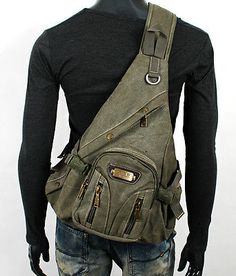 NWT VINTAGE STYLE MILITARY UNBALANCED BACKPACK SLING BAG EB003 kh in Clothing, Shoes & Accessories, Men's Accessories, Backpacks, Bags & Briefcases | eBay