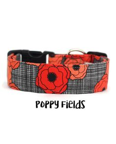 Girl Dog Collar Poppy Dog Collar Floral Dog Collar Flower