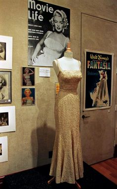 """Actress Marilyn Monroe's evening gown, which she wore in the 1953 film """"How To Marry A Millionaire."""""""