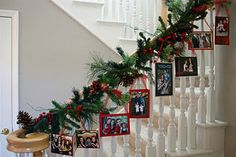 Christmas cards on staircase! Super cute!