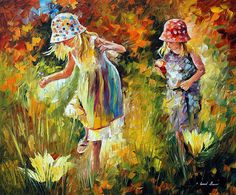 Leonid Afremov -  SISTERS — PALETTE KNIFE Oil Painting On Canvas By Leonid Afremov