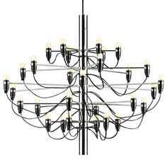 For Sale on - The 2097 chandelier was designed in 1958 by Gino Sarfatti for the Italian lighting manufacturer Flos. Here you see a true Classic among design chandeliers. Large Chandeliers, Modern Chandelier, Chandelier Lighting, Chandelier Ideas, Italian Chandelier, Suspension Cable, Mid Century Chandelier, Living Room Lighting, Hanging Lights