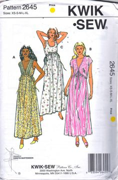 Kwik Sew 2645 Misses Lingerie Feminine Empire Waist Nightgown V or Scoop Neck and Bed Jacket womens sewing pattern and by mbchills