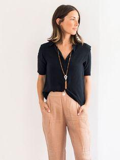 Silk Short Sleeve Black Shirt
