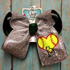 Softball glitter hair bow.  :) Softball Bows, Softball Stuff, Girls Softball, Cheer Bows, Cheerleading, Softball Hairstyles, Diy Hairstyles, Zebra Print Bedroom, Savior