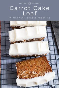 Simple and generously topped with cream cheese frosting, this super moist Carrot Cake Loaf is simply perfect! Carrot Cake Loaf, Easy Carrot Cake, Moist Carrot Cakes, Carrot Bread Recipe Moist, Carrot Cake Recipes, Cake Boss Recipes, Chocolate Loaf Cake, Carrot Cake Cookies, Köstliche Desserts