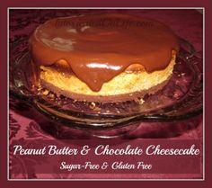 Peanut Butter & Chocolate Cheesecake. My favorite flavor combination. :-) (sugar-free/gluten-free)