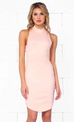 Indie XO Falling For You Pink Sleeveless Ribbed Mock Neck Cut Out Bodycon Mini Dress - Just Ours!