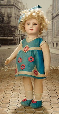 """Fascination"" - Sunday, January 8, 2017: 387 Rare French Paper Mache Doll with Flocked Complexion and Sleep Eyes, by SFBJ"