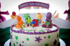 Barney birthday cake Barney Birthday Cake, Barney Party, 2nd Birthday Parties, Birthday Ideas, Cupcake Cakes, Cupcakes, Barney & Friends, Personalized Favors, Dessert Table