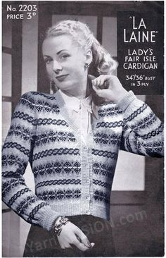Fair Isle Lady's Cardigan by La Laine Sizes 34 and 36ins pattern available at Etsy shop called YarnPassionDesigns