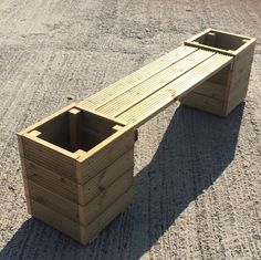 Large Square Decking Wooden Garden Planter & Bench Combination – Total Length - All For Herbs And Plants Large Garden Planters, Deck Planters, Planter Bench, Planter Garden, Cinderblock Planter, Wooden Garden Boxes, Diy Wooden Planters, 2x4 Bench, Wooden Garden Benches