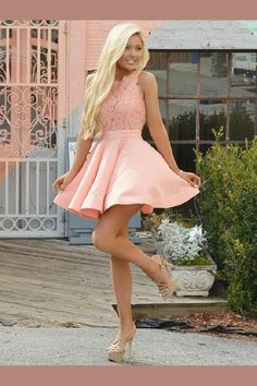 A-Line Crew Short Pink Satin Homecoming Dress with Lace Bodice simple pink stian short homecoming dresses for teens, semi formal lace dress for girls, vintage graduation party dress,short prom party gowns Pink Party Dresses, Lace Homecoming Dresses, Hoco Dresses, Club Dresses, Sexy Dresses, Prom Outfits, Homecoming Dresses For Freshman, Summer Outfits, Graduation Dresses