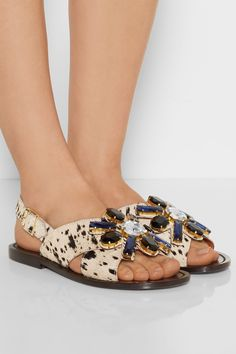 MARNI Crystal-embellished printed calf hair sandals £270 http://www.net-a-porter.com/products/456014