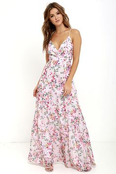 Garden Grove Pink Floral Print Maxi Dress at Lulus.com. love this for a baby shower!