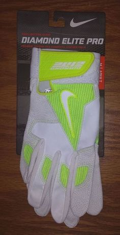 NEW Nike Diamond Elite Pro Baseball Batting Gloves Mens Adult S M GB0335 Volt #Nike Softball Equipment, Baseball Gear, Batting Gloves, Nike, Diamond, Leather, Beige, Diamonds, Baseball Gloves