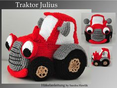 Tractor Julius: German or English pattern Diy Crochet Toys, Crochet For Boys, Knit Or Crochet, Crochet Animals, Crochet Crafts, Crochet Dolls, Crochet Projects, Amigurumi Patterns, Crochet Stitches
