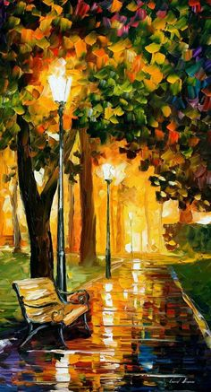"""Original Recreation Oil Painting on Canvas This is the best possible quality of recreation made by Leonid Afremov in person.  Title: Park lights Size: 20"""" x 36"""" Condition: Excellent Brand new Gallery Estimated Value: $8,000 Type: Original Recreation Oil Painting on Canvas by Palette Knife ..."""