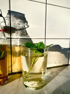 citroengras limonade Detox, Glass Vase, Cocktails, Vodka, Craft Cocktails, Cocktail, Slurpee, Smoothies