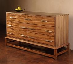 Zebrawood with mortise and tenons construction...now that's a dresser.