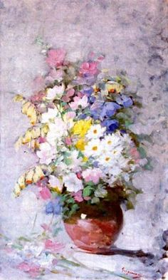 Nicolae Grigorescu - Pitcher of Flowers - Free Needlepoint / Cross stitch Pattern Oil Painting Flowers, Watercolor Flowers, Painting & Drawing, Floral Paintings, Pitchers Of Flowers, Art History Major, Impressionist Artists, High Art, Summer Flowers