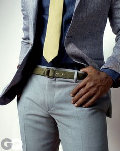 A Belt with a Ring to It    Fashion is strange: Suddenly one belt becomes the coolest thing since Miles Davis. Right now, the D-ring is our go-to pants-holder-upper.    Belt, $115 by Gant by Michael Bastian. Pants, $150 by DKNY. Sports jacket and tie by Polo Ralph Lauren. Shirt by Patrik Ervell.