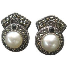 Preowned Judith Jack Ont Sterling Marcasite Pear Clip Earrings 145 Liked On Polyvore