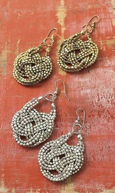 Jewelry Accessories Bijoux Just learned how to make these knots.never thought to use them to make jewelry. Jewelry Accessories Bijoux Just learned how to make these knots.never thought to use them to make jewelry. Diy Schmuck, Schmuck Design, Bead Earrings, Crochet Earrings, Silver Earrings, Beaded Jewelry, Handmade Jewelry, Jewellery, Beaded Necklaces