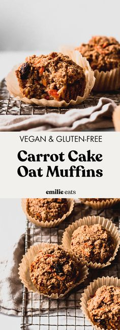 Carrot Cake Muffins (vegan & gluten-free) Made with oats, these healthy Carrot Cake Muffins make a delicious grab-and-go breakfast or snack to fuel you. Vegan and gluten-free! Gluten Free Carrot Cake, Carrot Cake Muffins, Healthy Carrot Cakes, Vegan Muffins, Oat Muffins, Oat Pancakes, Waffles, Gluten Free Baking, Vegan Gluten Free