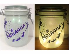 Personalised Disney Peter Pan Glitter Night Light Jar