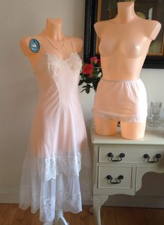 Vintage 1950s French Lace Under slip and Matching French Knickers Made by Morley. Unworn with Swing Ticket and Price Tag.