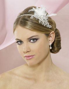 Symphony Bridal 4703CR Headband with Feathers - Sale!- Affordable Elegance Bridal -