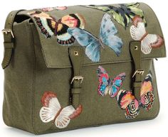 Valentino Embroidered Butterfly Camouflage Messenger Bag