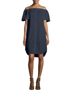 Off-The-Shoulder+Cotton+Dress+by+Vince+at+Bergdorf+Goodman.