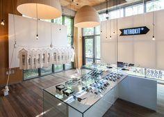 Seoul eyewear shop interior references Berlin's Cold War memorial
