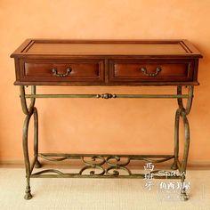 European Style Retro Leather Wrought Iron Desk