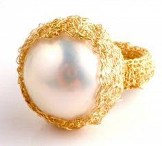 Rina Tairo, Mabe pearl and gold weave ring.   RinaTairo.com